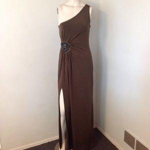 Asos High Slit One Shoulder Beaded Maxi Prom Dress